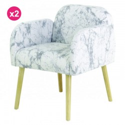 Set of 2 chairs in fabric marble white Zeus KosyForm