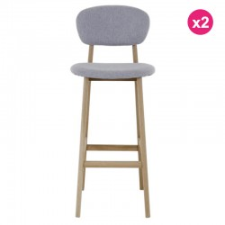 Set of 2 chairs Bar tissue gray and Ana KosyForm oak base