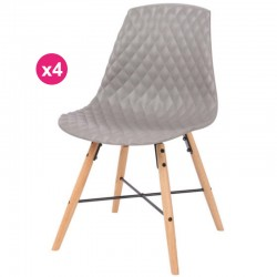 Set of 4 chairs Polypropylene grey oak Vigi KosyForm base
