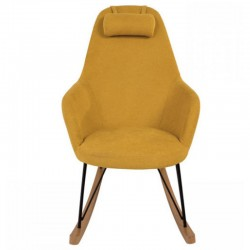 Rocking chair Hygge in yellow fabric and wood Eva KosyForm