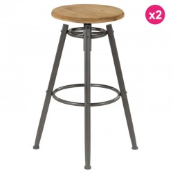 Set of 2 stools work Plan sitting Pin and feet Metal Soon KosyForm