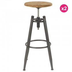 Set of 2 stools Bar Pin Massif and feet Soon KosyForm Metal seat