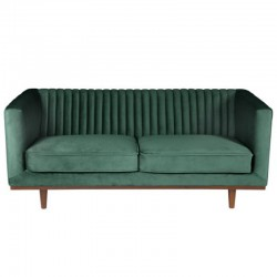 Sofa 2 Places Vintage Green Velvet and Walnut Walnut KosyForm Mantis