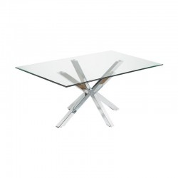 Dining Table Glass and Chrome Rectangular 180 Doli KosyForm